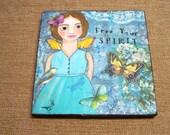 "Fairy Angel Painting Mixed Media encaustic ""Free Your Spirit""  Debi original FREE SHIPPING"
