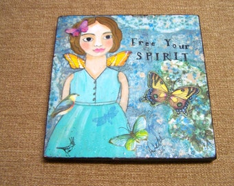 "Fairy Angel Painting Mixed Media encaustic ""Free Your Spirit""  Debi original FREE SHIPPING"