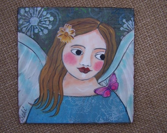 Angel Painting Original Mixed Media Encaustic Angel and butterfly FREE SHIPPING