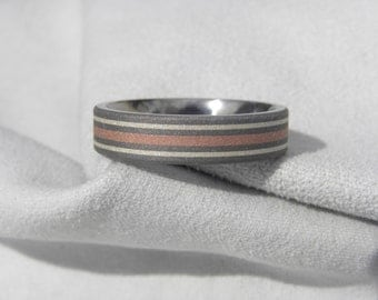 Titanium Silver and Copper Inlay Ring, Wedding Band, Mens Ring, Sandblasted