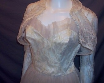 Vintage 50's Champagne Tea Length Lace Wedding Dress Gown Tulle Skirt Bolero Jacket B36