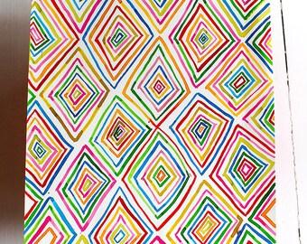 Original Watercolor artwork Diamonds