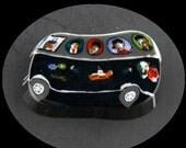 Beatles Tour Bus Glass Murrine Boro Murrina Cabochon  - 147B