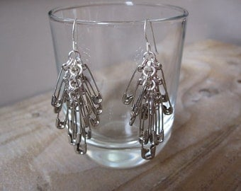 Plain Silver Safety Pin Earrings - Quirky Drop Earrings - Upcycled Earrings