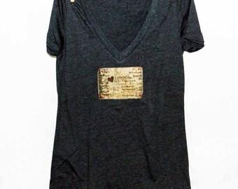 Heart London Women's Tshirt, Print Tshirt, Vneck Tshirt, Appliqued Tshirt, Hipster Tshirt, English Tshirt,  Vintage Style Tshirt
