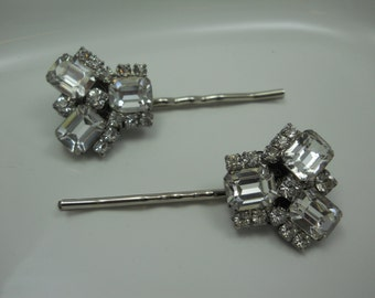 Authentic Vintage Rhinestone Bridal Hair Pins 1950's Hair Accessory Glass KRAMER Jewels Unique  Wedding Bride Something Old One of a Kind