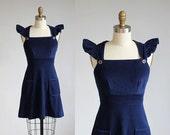 1970s dark blue flutter sleeve mini dress / xs