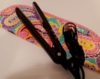 Quilted Flat Iron or Curling Iron Cover  Pink and Teal