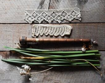 Antique Lace Trims on Wood Bobbin, Vintage Sewing Supplies, Antique Textiles, Wood Spindle, Textile Bobbin