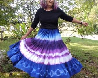 Dupioni Silk Shibori Skirt, Handmade and Dyed by 1000 Colors