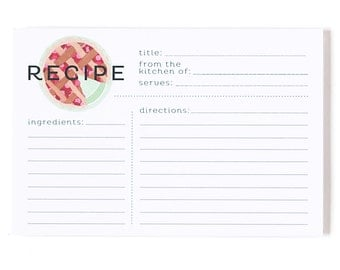 Modern Pie Recipe Cards Set of 50 // Hand Illustrated by 1canoe2 // Cherry Pie