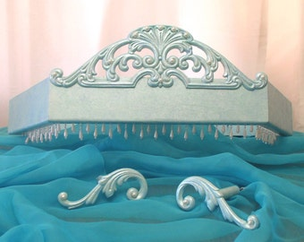 Bed crown with pearls and tie backs