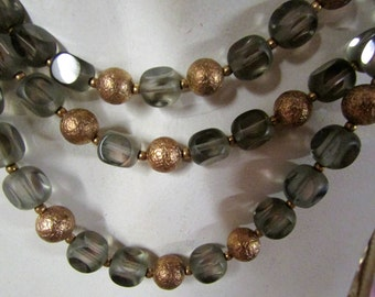 Vintage 1950's 1960's Signed CastleCliff Necklace Green Glass and Gold Tone Beads 3-Strand Adjustable Choker