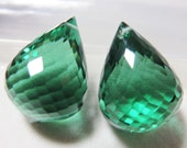 Green Amethyst Faceted Pear Briolette 15.15x21.13mm (51.45 ct.) - One Pair