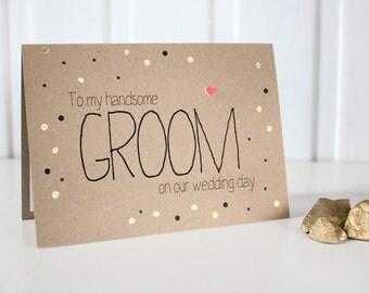 Groom Wedding Card. Groom Card. Handmade Groom Card. Husband Card. Groom Wedding Day Card. Card for my Groom. Gold Wedding Card. Gold Dots.