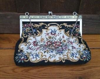 Vintage Black Tapestry Purse Clutch Handbag Evening Bag Retro Style