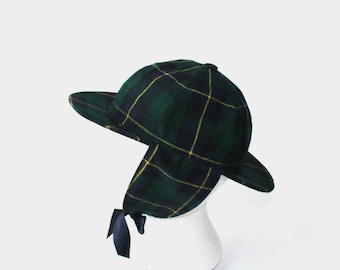 1960's Green Plaid Tartan Trapper Hat