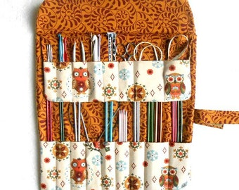 Owl Print Knitting Needle Roll Up, Organizer For Hooks, Straight Needle Case, DPN Case, Knitting Pouch, Knitting Accessories, Brush Roll