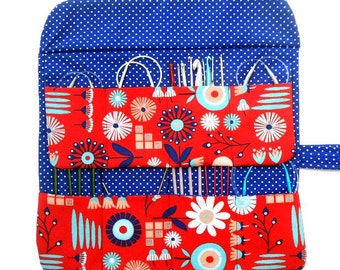 Red Circular Knitting Needle Case, Blue Floral Crochet Hook Organizer, Polka Dots Double Pointed Needle DPN Storage, Brushes or Pencil Roll