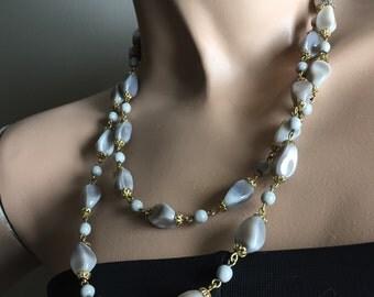 Retro Gray Beaded Necklace