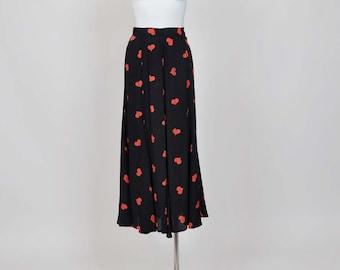 1980s rayon skirt /Hearts a Flutter Vintage 80's Novelty Print Skirt
