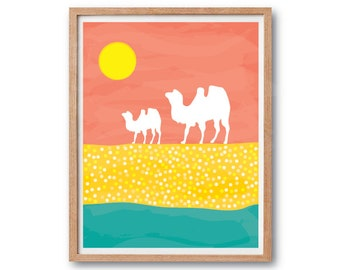 Nursery Print, Camels Art print, Children Gift, Kids room Decoration, Animal Illustration, Camel Illustration, Watercolor print