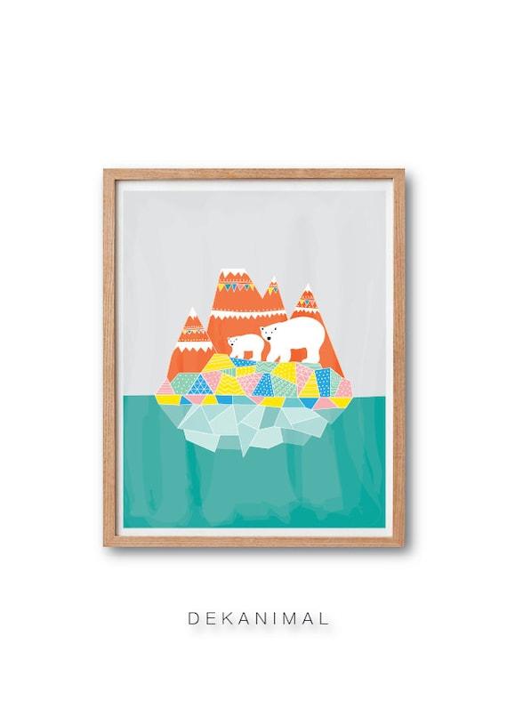 Polar Bears Art Print - Watercolor Print, Bear Animal Illustration, Geomertric Print, Children's book art, Kids art, Nursery decor