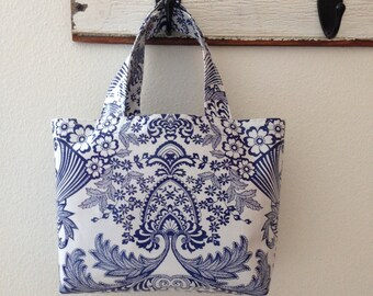 Beth's Blue Paradise Small Oilcloth  Market Tote Bag
