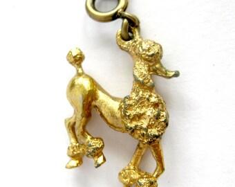 Vintage Monet POODLE Charm / Gold Tone Dog Bracelet Charm  / Standard Poodle Charm for Bracelet