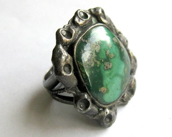 Dark Green Turquoise Ring with Variegated Copper Stone / Stamped M. Tritto / Size 5 1/2