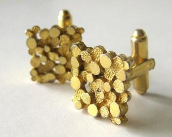 Men's Silver Gentlemens Cuff Links / Modenist / Geometric Gold Tone Design / Groom Groomsmen