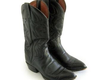 Men's El Dorado Handmade Cowboy Boots Black Leather Western Rancher Riding Boots