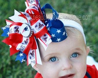 New England Patriots Baby Headband,Patriots Hairbow,NFL Baby Headband,Newborn Headband,Infant Headband,Red and Blue Bows,Patriots Hair Bow