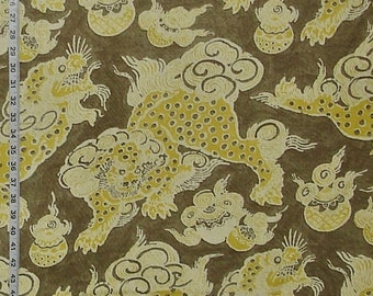 Oriental dragon fabric yellow tan Foo Dog Asian linen interior home decorating material 1 yard