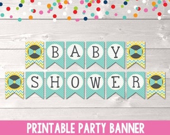 Printable Baby Shower Banner Bunting PDF Little Man Blue Bowtie and Chevron Stripes INSTANT DOWNLOAD