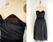 Vintage 50s Pin Up Black Nylon and Elastic Bullet Bra Strapless Slip
