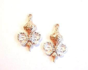 Pair of Two-toned Gold-Silver Hammered Fleur de Lis Charms Row of Rhinestone Accent