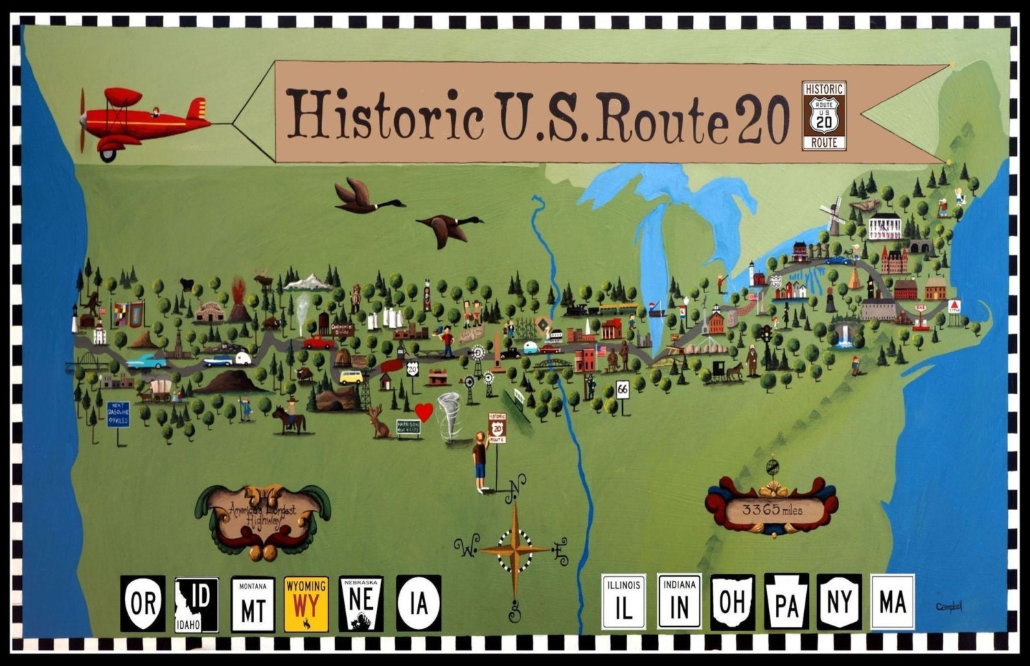 Historic US Route  Map Postcards By Tim Campbell Set Of - Map us 20