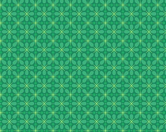 Clearance Sale - One fat quarter - Green Graphic Floral - A-7485-G