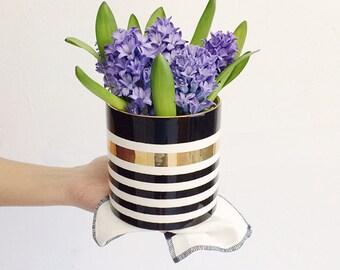 Handmade, Pottery, Vase, Gold, Stripe, Stripes, Black