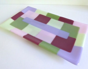 Fused Glass Platter in Green, Plum, Pink and Lavender