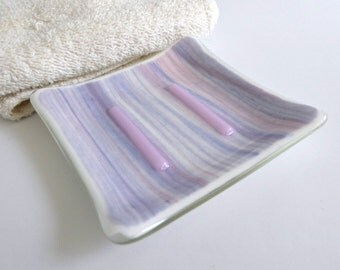 Square Soap Dish in Pink, White and Blue Streaky Fused Glass