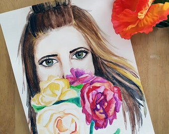 Colorful girl illustration with flowers - original watercolor painting