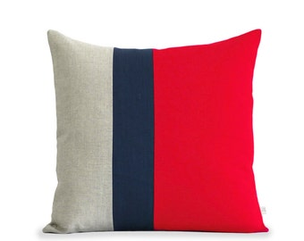 Red Linen Color Block Pillow Cover (20x20) Navy Striped Trio by JillianReneDecor - Poppy Red - Colorblock Home Decor - Nautical, Patriotic