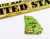 1961 Georgia Brooch - Pin / Unique Wearable History Gift Idea / Upcycled Vintage Wood Jewelry / Timeless Gift Under 25
