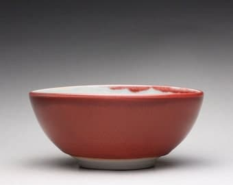 handmade porcelain bowl, serving bowl, ceramic bowl with bright red and turquoise celadon glazes