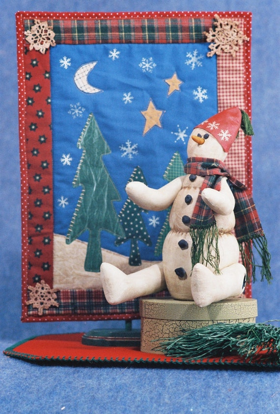 Mailed Cloth Doll Pattern Christmas Holiday Snowman & Quilt