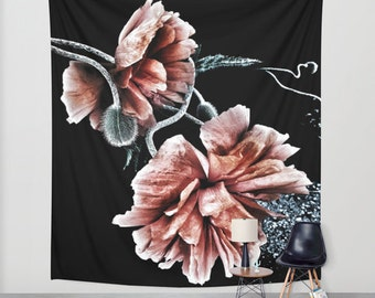 Passing with Colors Wall Tapestry, Poppy Large Wall Art, Flower Home Decor, Floral Tapestry, Dorm Room, Drama, Black Red Tapestry,Noir Decor