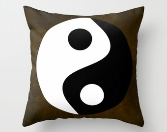 Yin and Yang Throw Pillow, Zen Pillow, Buddhism Decor, Chinese Symbol Art Decor, Symbolism Decorative Pillow, Cushion,Brown,Spirit Mind,Dorm