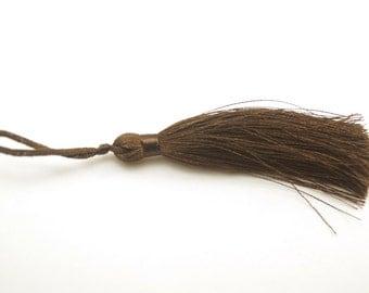 2pcs-  Silk Thread Nougat Brown Color Tassels-Findings- 80x14mm